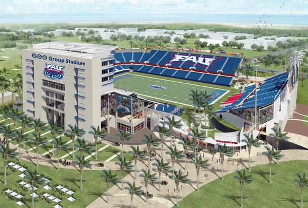 Florida Atlantic UniversityAn artist's rendering of the Florida Atlantic football stadium, renamed for the GEO Group.